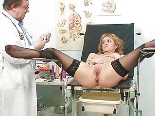 slim woman gyno clinic exam by horny nurse