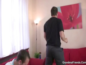 extremely impressive older belle takes two dicks