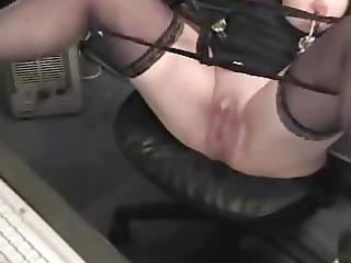 slutty grandma with large clit has fun at computer
