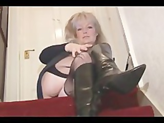 cougar horny blonde lady into pantyhose and mini