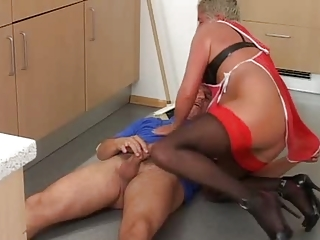 grey haired old inside brown top nylons cleans up