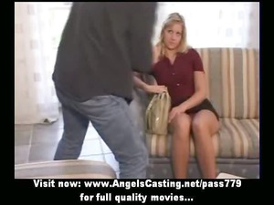 young lovely blond bride sweet talking and doing