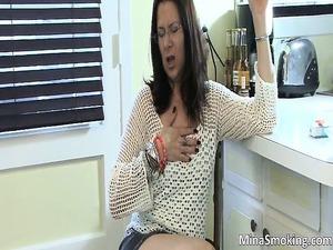 astonishing nasty brunette slut exposing
