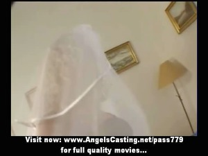 extremely impressive pale mature babe as bride