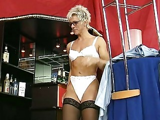 german mature babe undresses