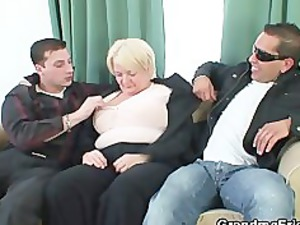 two buddies bang naughty granny whore