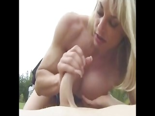 older  muscled with huge clit openair