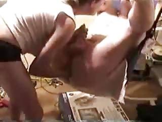 woman fists hubby on swing