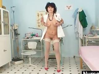naughty amateur lady wears latex uniform and high