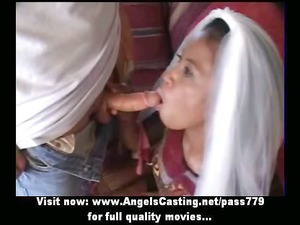 innocent afro bride in three people does cock