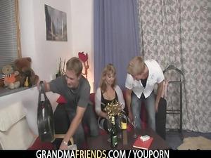 two fuckers fuck elderly woman