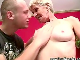 granny gets off false teeth during dick sucking