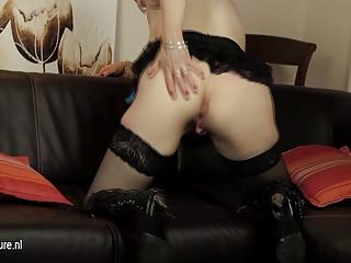 british cougar woman masturbating with her
