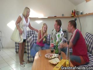 partying men nail albino grandma