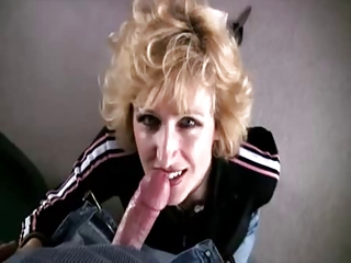 lady licks and gulps large sperm