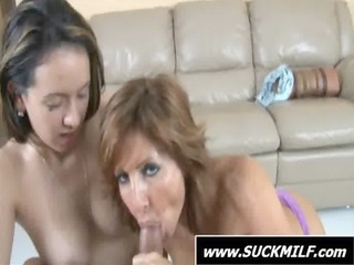 triple with a slutty lady licking penis