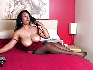gorgeous brunette momma with large bazongas into