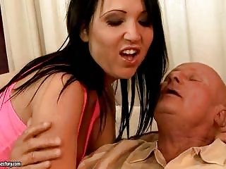 slutty grandpa likes fuck with awesome young by