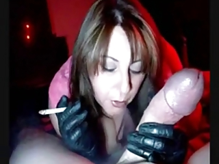 super lady into gloves smoking jerking and licking