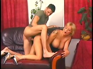 goldenhaired mommy with super jugs pumped on a