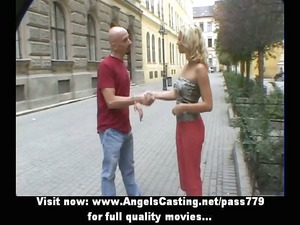 sporty blonde delightful talking with big guy
