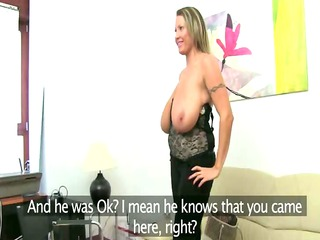 mature slut adoring on leather furniture