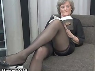 cougar wife in sexy ebony stockings part5