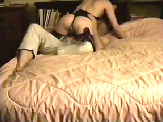 housewife drilling inside black teddy and