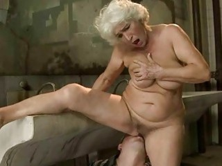 busty old obtains pierced into al fresco toilet