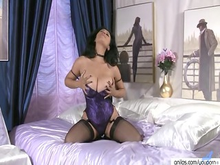giant tits on older  in pantyhose stroking pussy