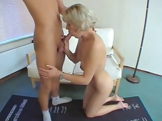 shorthaired grownup pale with lil bossom gets on
