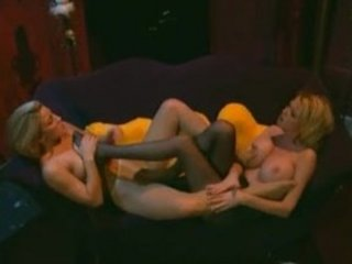two horny blond ladies into stockings with a feet