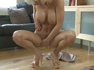 sensual blond momma with giant boobs inside shoes