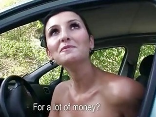slutty lady drilled inside openair for money