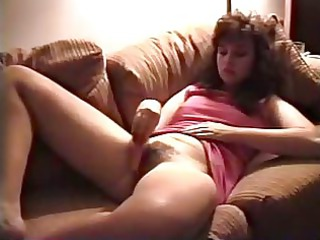 vintage milf plays  hairy pussy with carrot