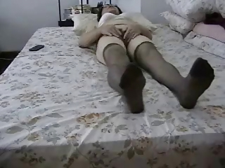 inexperienced old pleases her shaggy vagina !