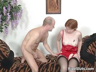 older  amp into pantyhose licks plump boner part3