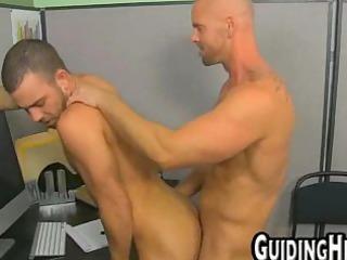 bald male gang-banging stud