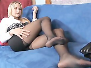 naughty blond mature babe teases in sheer dark