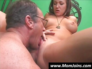 young thin brunette with her mom takes drilled by