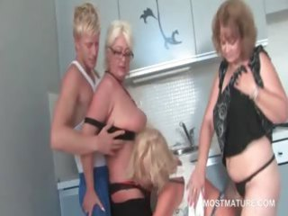 older  trio licking amateur penis with lust