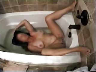 my mum inside shower tube pushing dildo with