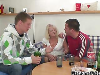partying men screw pale elderly